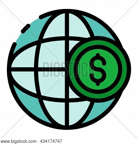 Global Money Seller Icon. Outline Global Money Seller Vector Icon Color Flat Isolated