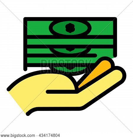 Take Cash Broker Icon. Outline Take Cash Broker Vector Icon Color Flat Isolated