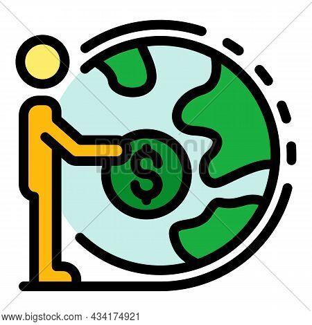 Global Broker Money Coin Icon. Outline Global Broker Money Coin Vector Icon Color Flat Isolated