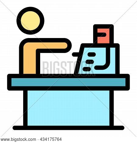 Account Cashier Bank Icon. Outline Account Cashier Bank Vector Icon Color Flat Isolated