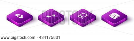 Set Isometric Cloud Database, Music Note, Tone, Hard Disk Drive Hdd Sync Refresh And Database Icon.