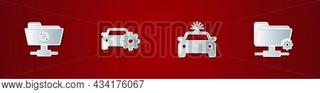 Set Ftp Sync Refresh, Car Service, Police Car And Flasher And Settings Folder Icon. Vector