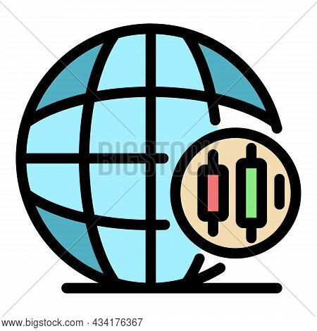 Global Trader Icon. Outline Global Trader Vector Icon Color Flat Isolated