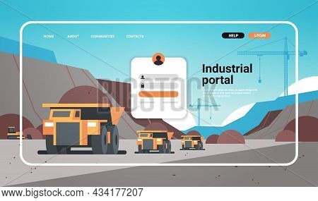 Industrial Portal Website Landing Page Template Open Pit Mining Industry With Trucks For Coal Anthra