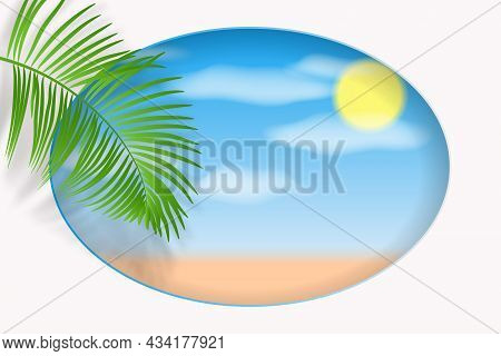 Green Palm Leaf With Shadow On The Seascape Background. Summer Concept With Palm Tree Leaf, Sea Shor