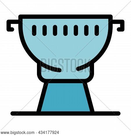 Portable Grill Icon. Outline Portable Grill Vector Icon Color Flat Isolated