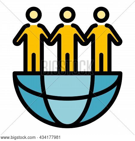 Global Immigrants Icon. Outline Global Immigrants Vector Icon Color Flat Isolated