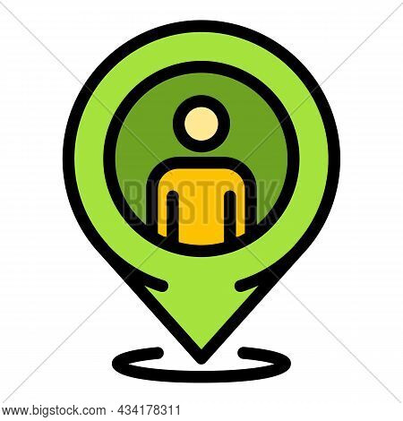 Illegal Immigrants Gps Pin Icon. Outline Illegal Immigrants Gps Pin Vector Icon Color Flat Isolated