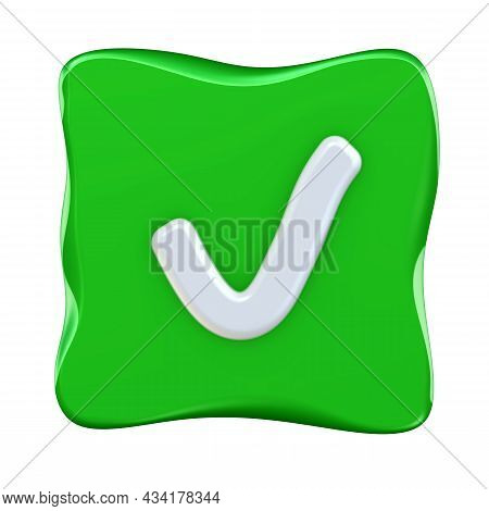 Like Or Correct Symbol Icon. One White Check Mark Symbol In Green Checkbox Isolated On White Backgro