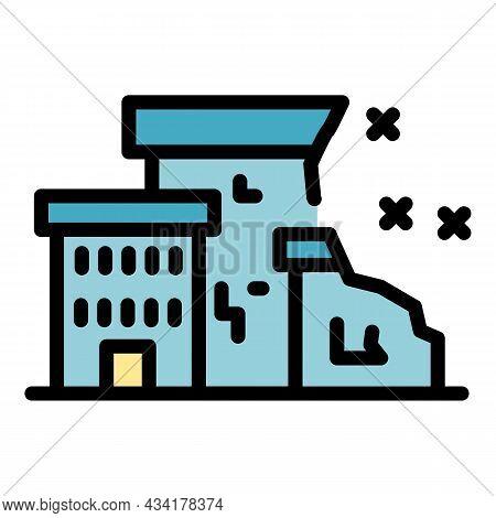 City Destruction Icon. Outline City Destruction Vector Icon Color Flat Isolated