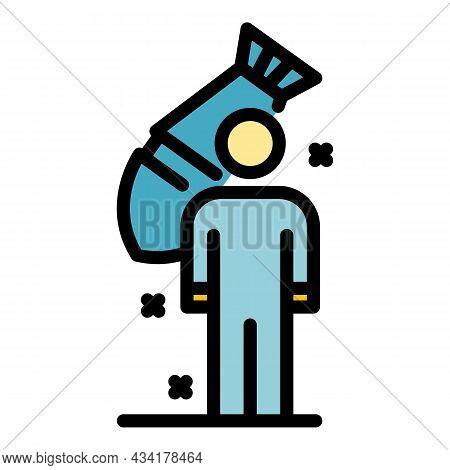 Immigrant Under Bomb Attack Icon. Outline Immigrant Under Bomb Attack Vector Icon Color Flat Isolate