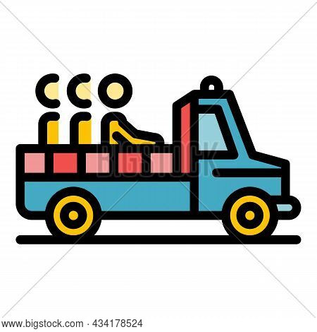 Illegal Immigrants Pickup Icon. Outline Illegal Immigrants Pickup Vector Icon Color Flat Isolated