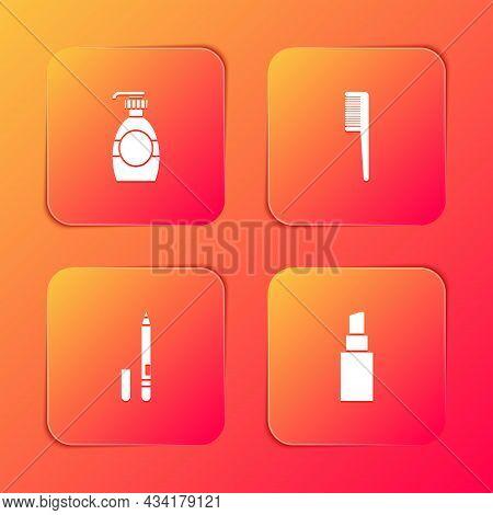 Set Bottle Of Liquid Soap, Hairbrush, Eyeliner, Eyebrow And Lipstick Icon. Vector