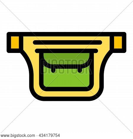 Hipster Waist Bag Icon. Outline Hipster Waist Bag Vector Icon Color Flat Isolated