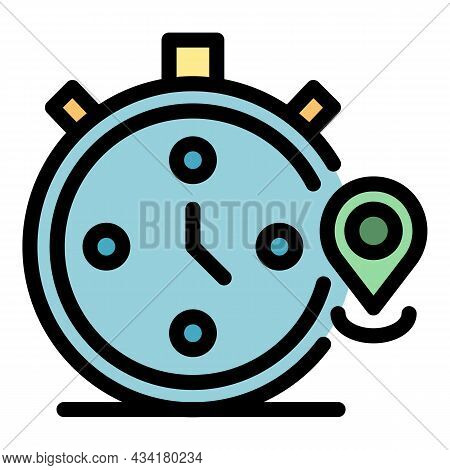 Timer Stopwatch Icon. Outline Timer Stopwatch Vector Icon Color Flat Isolated