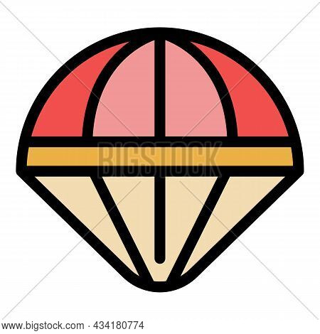 Jump Parachute Icon. Outline Jump Parachute Vector Icon Color Flat Isolated