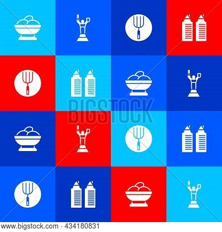 Set Varenyky In A Bowl, Mother Motherland Monument, Garden Pitchfork And Two Towers Dnipro Icon. Vec