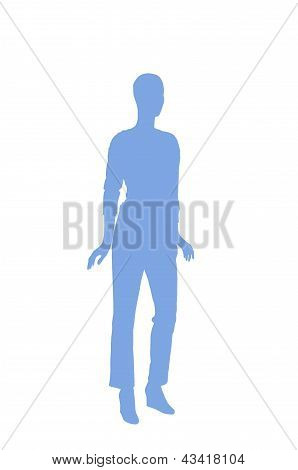 Fashion Dummy Silhouette (blue Shadow Isolated In White Background)