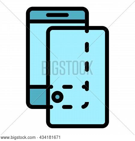 Cover Glass Protector Icon. Outline Cover Glass Protector Vector Icon Color Flat Isolated