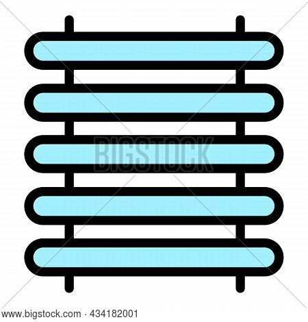 Warm Towel Rail Icon. Outline Warm Towel Rail Vector Icon Color Flat Isolated