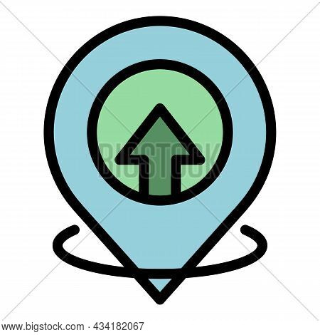 Hitchhiking Gps Pin Icon. Outline Hitchhiking Gps Pin Vector Icon Color Flat Isolated