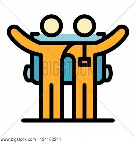 Friends Hitchhiking Icon. Outline Friends Hitchhiking Vector Icon Color Flat Isolated