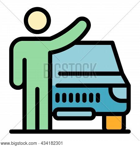 Student Hitchhiking Icon. Outline Student Hitchhiking Vector Icon Color Flat Isolated