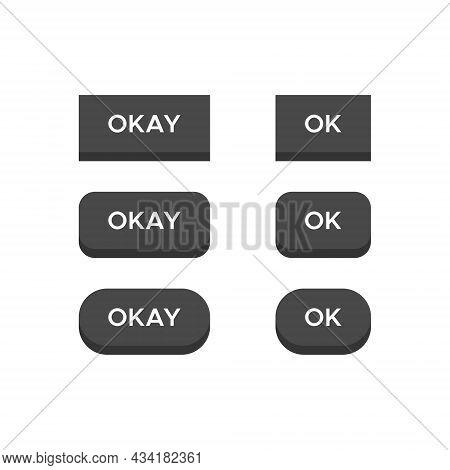 Ok, Okay Icon Vector In 3d Button