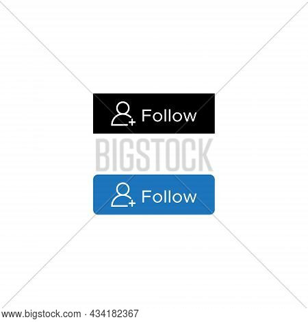 Follow Button Icon Vector In Flat Style