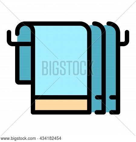 Bath Towels Icon. Outline Bath Towels Vector Icon Color Flat Isolated
