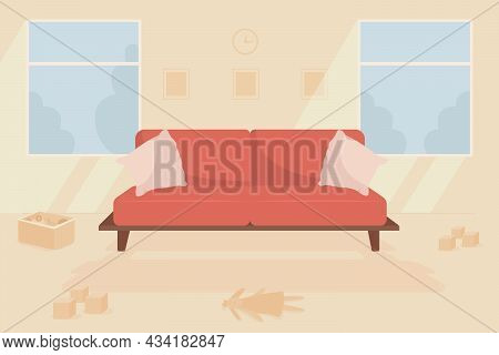 Family Living Room Flat Color Vector Illustration. Room With Couch And Messy Floor. Messy Household.