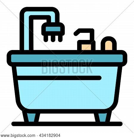 Relax Bathtub Icon. Outline Relax Bathtub Vector Icon Color Flat Isolated