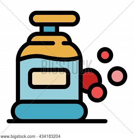 Antiseptic Bottle Icon. Outline Antiseptic Bottle Vector Icon Color Flat Isolated