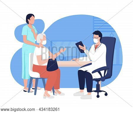 Doctor Consultation 2d Vector Isolated Illustration. Visit To Physician. Health Diagnostics. General