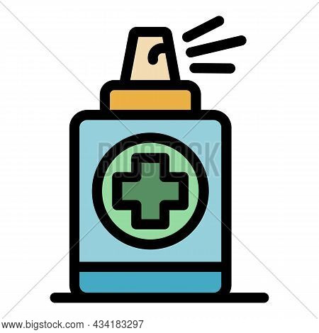 Antiseptic Spray Icon. Outline Antiseptic Spray Vector Icon Color Flat Isolated