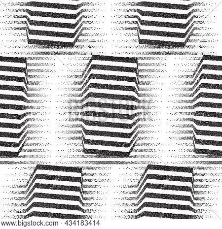 Modern Op Art Stipple Pattern With Optical Illusion. Seamless Vector Texture With Op Art Stripes Lin