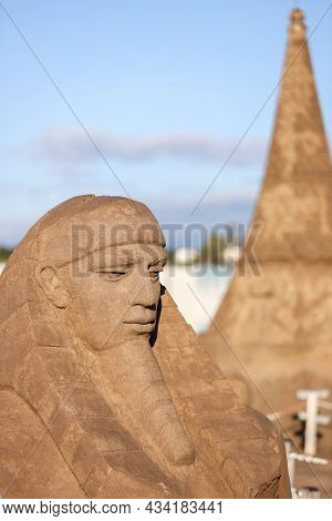 Sand Sculpture Museum Is An Open Air  Located At The  Beach. The Sand City Or Sand Sculpture Festiva