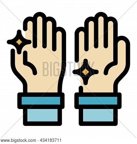 Shiny Clean Hands Icon. Outline Shiny Clean Hands Vector Icon Color Flat Isolated