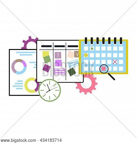 Agile Business Concept, Plannning And Analyze Time Schedule And Using Deadline At Calendar, Methodol