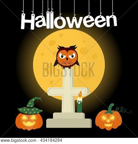 Angry Owl Sitting On A Grave Cross Against The Moon.  Below Are Glowing Pumpkins And A Candle. Hallo