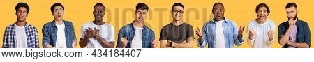 Emotional Multiracial Guys Grimacing And Gesturing On Yellow