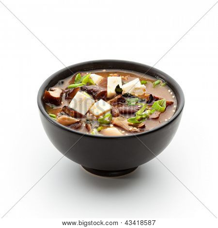 Japanese Cuisine - Miso Soup with Seaweed, Mushrooms and Tofu Cheese