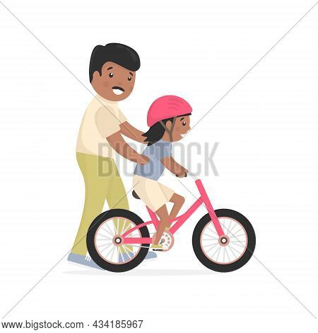 Father Teaching Daughter To Ride Bike. Caring African Dad Help His Little Child Riding Bicycle. Smal