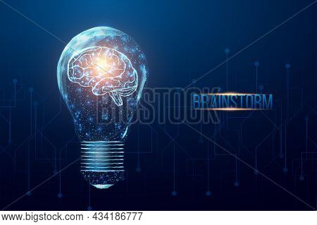 Wireframe Polygonal Human Brain In A Lightbulb. Business Idea, Brainstorming Concept With Glowing Lo