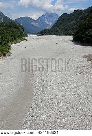 Dry Shingle Of The Tagliamento River Due To The Karst Phenomenon And Drought In The Friuli Region In
