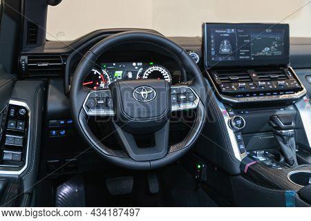 Novosibirsk, Russia - September    24 , 2021: Toyota Land Cruiser 300, Interior Cabin Details, Speed