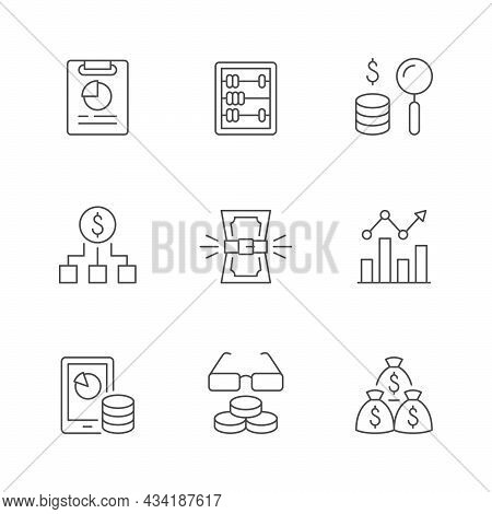 Set Line Outline Icons Of Budget Isolated On White