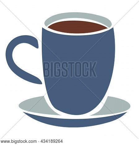 Vector Illustration Of Mug With Hot Drink. Mug With Saucer.