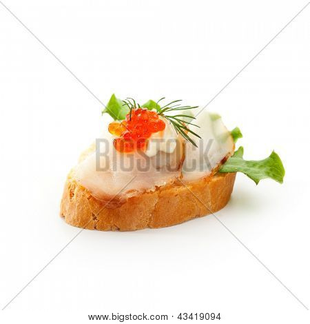Fish Canapes - Smoked Butterfish with Red Caviar and Lemon Dip