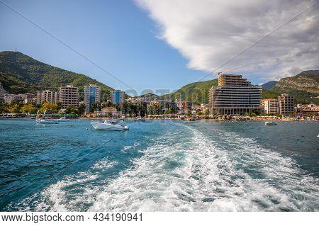 Budva, Montenegro - 20.09.2021: View From Water Of The Budva City In Montenegro, View From Island Of